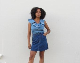 Vintage Levis denim skirt High waist mini skirt