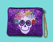 Glitter Sugar Skull Clutch Purse Handbag - LIMITED EDITION