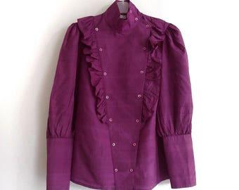 Michael Hofmann Silk 70s Blouse - Purple Silk Blouse - 1970s Raw Silk - Puffy Sleeves -Volants Ruffled Blouse - Eggplant Aubergine Purple