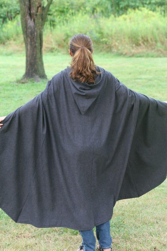 Hooded Hobbit Style Cloak, Dark Gray/Black Herringbone flannel