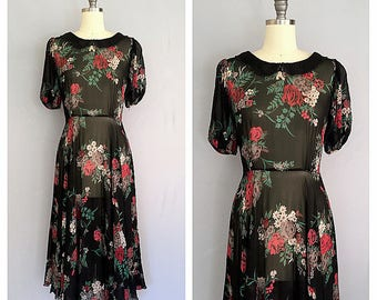 Midnight rose dress | 1970s black floral gown | 1930s style bias dress | s - m