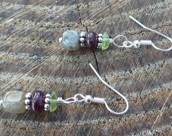 Labradorite, Garnet and Peridot Earrings