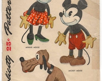 Digital Downlad - 1940's Simplicity Disney Mickey Mouse Stuffed Animal Pattern - No. 7111