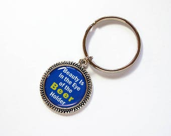 Beer keychain, Funny Keychain, Beer keyring, key chain, key ring, humor, gift for him, beer, blue, fun gift for men, Fathers Day (1714)