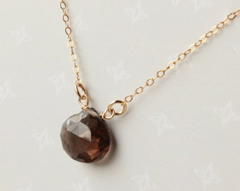 Smokey Quartz Necklace, 14kt Goldfilled, brown black gemstone wire wrapped, modern minimalist simple everyday, holiday gift for her, 4310