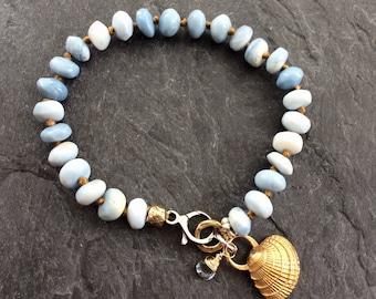 Shell charm bracelet - beach themed, blue opal bracelet, stacking jewelry, nautical bracelet, present for her by mollymoojewels