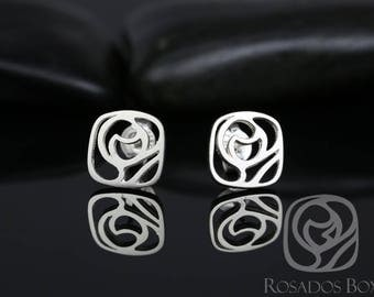 Rosados Box Stud Earrings Silver or Gold Flat Disk Logo Charity