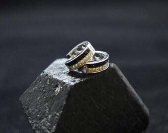 925 Hoop Earrings White and Black Huggies Huggy Hoops Jewelry Sterling Silver Hoop 925 Pierced CZ and Onyx