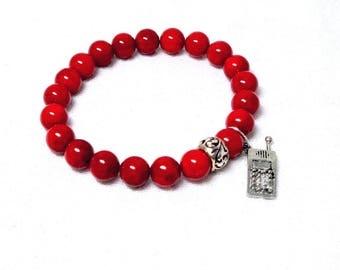 Red Riverstone, Natural Bracelet, Cell Phone Charm, Faceted Beaded, Yoga Boho, Gem Stones, Stretch Bracelets, Stacking