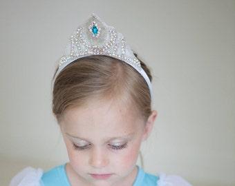 Queen Elsa Crown- Frozen inspired Princess crystal rhinestone and beaded crown headband tiara