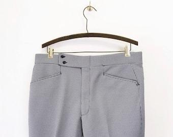 1970s Blue & White Houndstooth Men's Disco Era Pants Vintage Knit Polyester Pants / Trousers / Slacks - Size MEDIUM