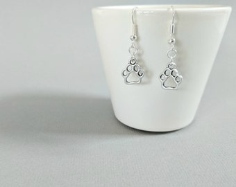 Paw Print Earrings, Paw Print Jewellery, Paw Print Jewelry, Dog Themed Earrings, Dog Lover Earrings, Pet Earrings