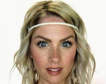 The Edie - Cream Braided Boho Headband