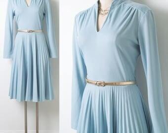 60s Dress, Vintage Blue Dress, Mad Men Dress, Vintage pleated Dress, Vintage party dress, 60s Blue Dress, Knit Dress - M/L