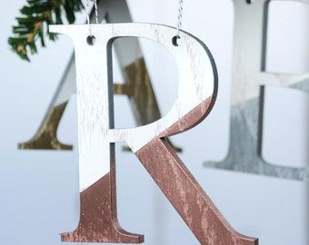 Personalised Metallic Christmas Tree Decorations - Metallic Letters - Initials - Gold - Copper - Silver - Christmas Ornaments - Baubles