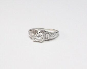 Art Deco 18k White Gold Diamond Ring - 1.25ct Old European Cut Diamond