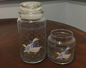 Geese Canisters, Anchor Hocking Farm Country Geese Jars, Geese Canisters