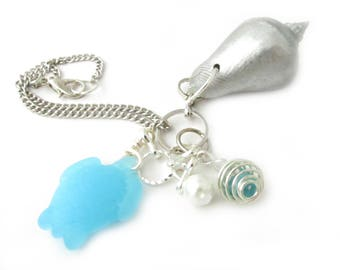 Sea Shell Rearview Car Charm, Sea Turtle Car Charm, Sea Glass Ornament, Rearview Mirror Charm, Car Accessories,  for Her