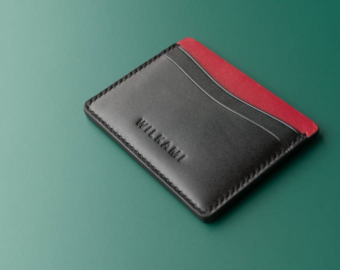 Hand Sewn Leather Card Holder - Slim Leather Wallet - Handmade Wallet - Hand Stitched Wallet - Men Women Wallet - Simple Card Holder