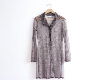 Cheetah Print Mesh 90s Shirt Dress