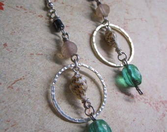 Upcycled Shell + Multicolored Glass Beaded Dangle Hoop Earrings