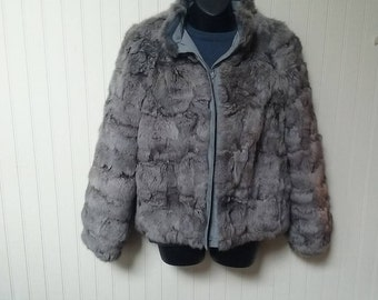 vintage fur coat, S, rabbit fur coat, reversible, gray, vintage, fur jacket, parka, ski jacket, vintage fur, Mademoiselle Furs