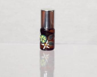 Peridot - sandalwood, vanilla, lime, rose, cardamom notes - botanical artisan perfume oils in handpainted glass bottles