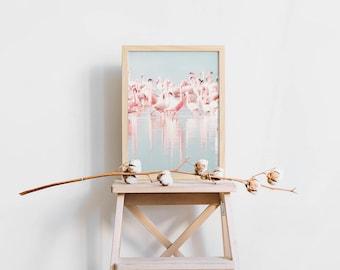 Printable Summer Wall Art - Tropical Flamingo - Coral and Teal - Minimalist Nature - Tropical Bird - Instant Digital Download - SKU:3462