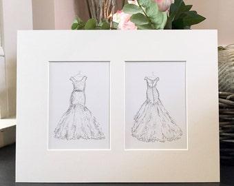 Personalised Wedding Dress Hand Drawn Illustration - Wedding Dress Sketch - Unique Wedding Gift - Hand Drawn - Original Artwork