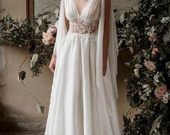 Grecian wedding dress, grecian wedding gown, grecian bridal gown, bohemian wedding dress, boho wedding dress, beach wedding dress