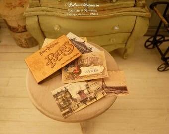 Album de Paris, Miniature en papier, Cartes postales anciennes, Accessoires de collection, Maison de poupée, Échelle 1/12