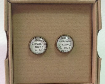 1963 French Dictionary Stud Earrings - Crown