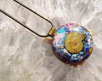 Orgone Pendant - Selenite/Ammonite/Lapis Lazuli/Rose Quartz/Pink Tourmaline/Blue Calcite/Citrine/Yellow Jasper - FREE WORLDWIDE SHIPPING!
