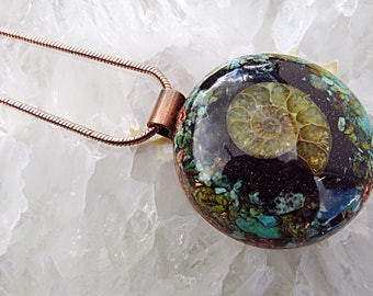 Powerful Orgone Pendant - Turquoise/Shungite/Ammonite - FREE WORLDWIDE SHIPPING!