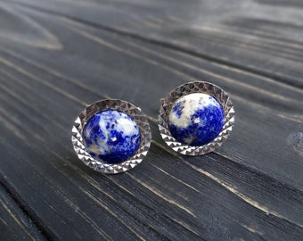 Gemstone cufflink/for/groom lapis lazuli jewelry/for/men gift planet earth anniversary gift/for/boyfriend birthday gift september birthstone