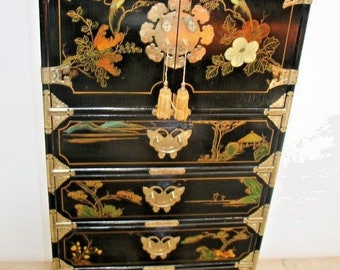 Amazing Large Oriental Asian Painted Lingerie Chest Dresser Lockable top chest Safe Nationwide shipping available please call for best rates