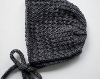 Baby Bonnet, Size 3-6 months, Charcoal Grey Merino Wool Baby Hat, Infant Knitted Cap, Gift For Baby