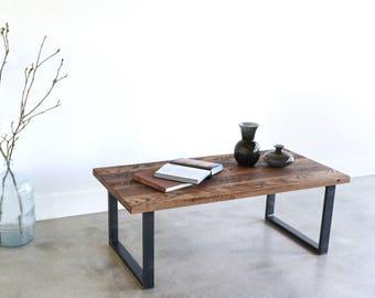 Industrial Reclaimed Wood Coffee Table / U Shaped Steel Legs