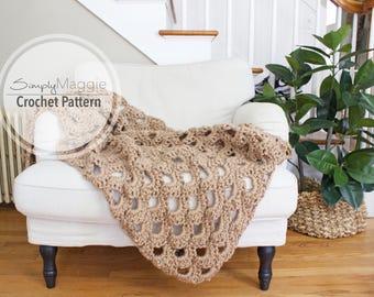 "Crochet Pattern // Arcade Stitch Throw // Crochet Blanket // Intermediate Level // 42"" by 69"" // Simply Maggie"