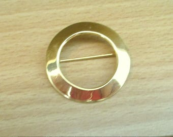 "Vintage Signed Napier Gold Tone Circle Pin Brooch 1.25"" Round"