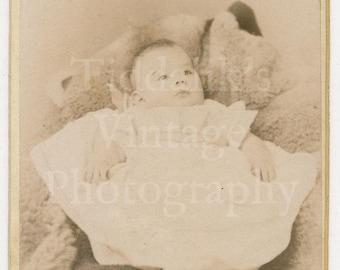 CDV Carte de Visite Photo Victorian Cute Baby, Christening Gown Portrait - Norman May & Co. Malvern Cheltenham England - Antique Photograph