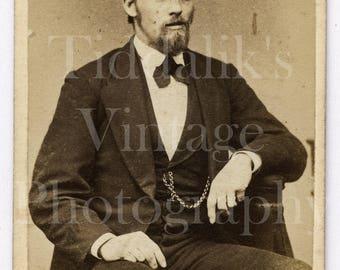 Carte de Visite CDV Photo Victorian Smart Suited Handsome Man, Goatee and Mustache, Gold Watch Chain, Portrait - Antique Photograph