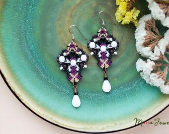 Black and white macrame earrings, elegant, boho chic, beaded, long, dangle, micro-macrame jewelry, beadwork, beadwoven, gift idea for her