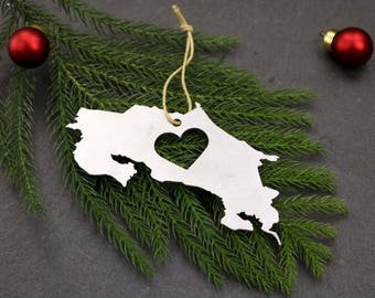 Love Costa Rica Christmas Ornament Country Travel Rustic Aluminum Holiday Gift for Her Him Decor Wedding Favor Stocking Stuffer Central