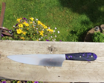 Chef's Knife, Custom Chef's Knife, Purple Knife, Kitchen Knife, Kitchen Cutlery, Housewarming Gift, Gift for Cook, Wedding Gift, Chefs Knife
