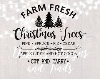 DIGITAL DOWNLOAD svg png farm fresh christmas trees merry christmas truck tree retro vintage winter holiday silhouette cricut cut files