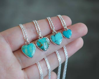 Special sale price! Sterling Silver Turquoise Heart Necklace
