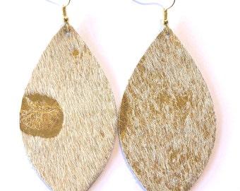leather earrings / genuine leather / metallic leather / lightweight
