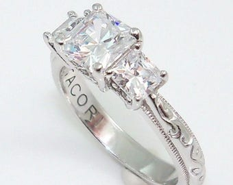 Estate Vintage Tacori 3 Stone Ring Large Princess Cut Center 2 Smaller on sides Ornate Milgrain Detail Band Engagement Promise Past Present