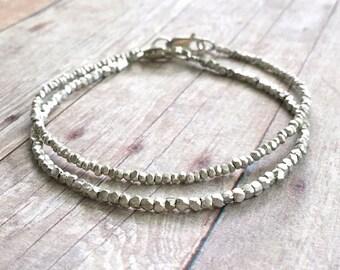 Sterling Silver Bracelet Set / Tiny Bead Hill Tribe Silver Jewelry / Delicate Dainty Custom Bracelet Stack / Minimalist Everyday Bracelet